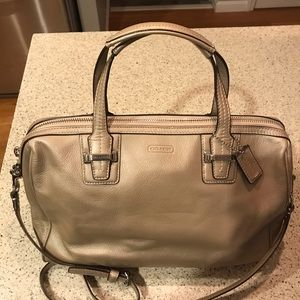 Coach Taylor Leather Satchel Bag Champagne F25296